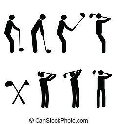 sylwetka, golfing, człowiek