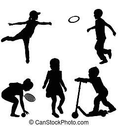 sylwetka, grający dziećmi