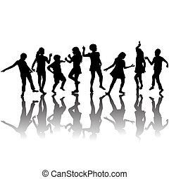 sylwetka, grupa, dzieci, taniec