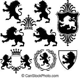 sylwetka, heraldyczny, lew