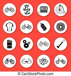 sylwetka, icons., komplet, sześć, rodzaje