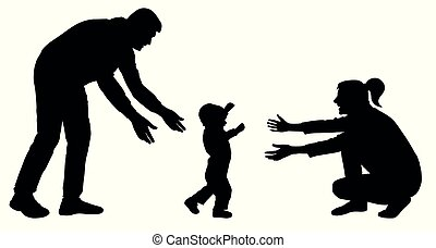 sylwetka, idzie, rodzina, kroki, mamusia, niemowlę, pierwszy, wypadek, vector.