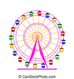 sylwetka, illustration., barwny, wheel., atraktsion, ferris, wektor