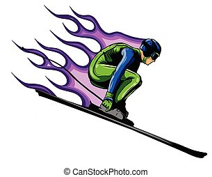 sylwetka, illustration., concept., wektor, jumping., sport, narciarz