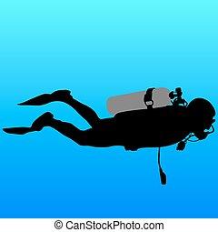 sylwetka, illustration., wektor, czarnoskóry, divers., scuba