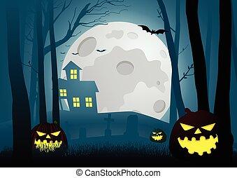 sylwetka, ilustracja, od, niejaki, dom, w ciemny, straszliwy, drewna