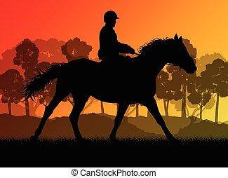 sylwetka, jeździec, grzbiet koński
