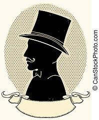 sylwetka, kapelusz, twarz, wektor, dżentelmen, mustache.