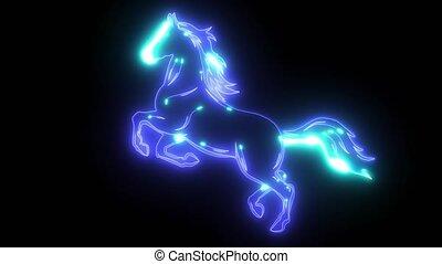 sylwetka, koń, wyścigi, ożywienie