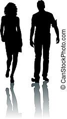 sylwetka, kobieta, fason, człowiek