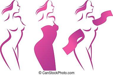 sylwetka, kobieta, piękny, wektor, stylizowany, profil