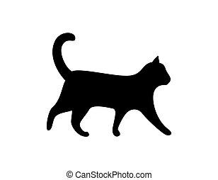 sylwetka, koci, kot, wektor, czarnoskóry, zwierzę, ikona