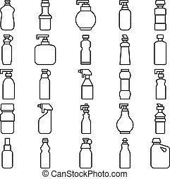 sylwetka, komplet, butelki, plastyk