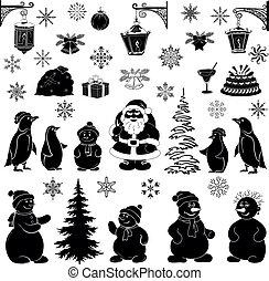 sylwetka, komplet, czarnoskóry, rysunek, boże narodzenie