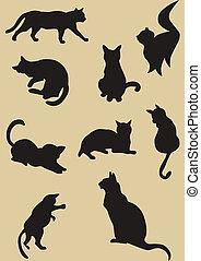 sylwetka, koty, ilustracja