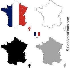 sylwetka, kraj, francja bandera, czarne tło