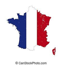 sylwetka, kraj, odizolowany, francja bandera, tło, biały