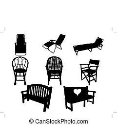 sylwetka, krzesło
