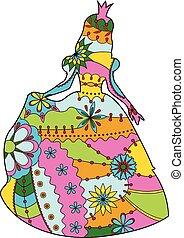 sylwetka, księżna, barwny