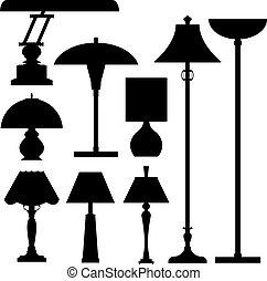 sylwetka, lampy, wektor
