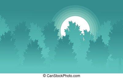 sylwetka, las, krajobraz, księżyc