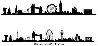 sylwetka, londyn, sylwetka na tle nieba