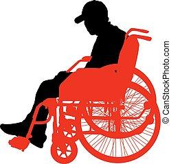 sylwetka, ludzie, ilustracja, niepełnosprawny, tło., wektor, biały
