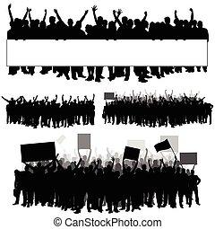 sylwetka, ludzie, trzy, ilustracja, część, biały, przeźroczysty