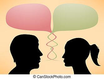 sylwetka, mówiące, mężczyźni, abstrakcyjny, kobiety
