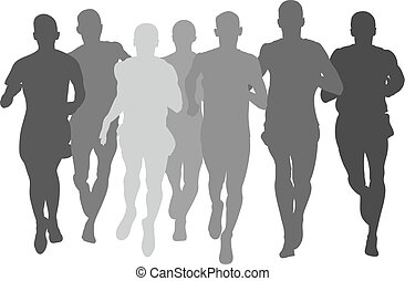 sylwetka, mężczyźni, grupa, atleci, biegacze
