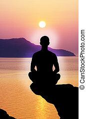 sylwetka, medytacja, osoba