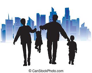 sylwetka, miasto, rodzina, czarne tło, szczęśliwy