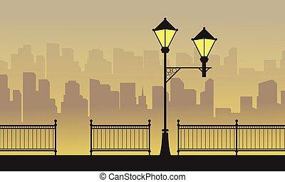 sylwetka, miasto, tło, z, kandelabr, krajobraz