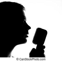 sylwetka, microphone., człowiek