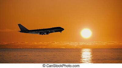 sylwetka, na, samolot, skreślić, morze