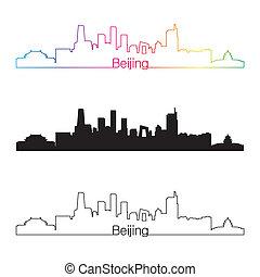 sylwetka na tle nieba,  Beijing, styl, Linearny, Tęcza
