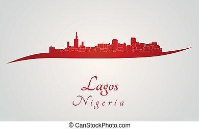 sylwetka na tle nieba,  Lagos, czerwony