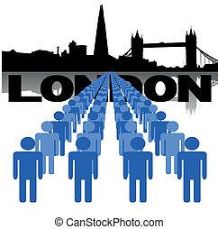 sylwetka na tle nieba, londyn, ludzie