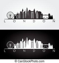 sylwetka na tle nieba, londyn, silhouette.