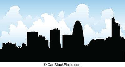 sylwetka na tle nieba, londyn, uk