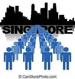 sylwetka na tle nieba, ludzie, singapore