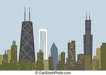 sylwetka na tle nieba, rysunek, chicago