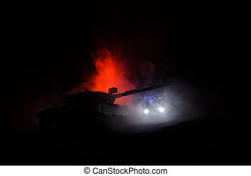 sylwetka na tle nieba, zbiornik, opancerzony, niemiec, concept., pojazd, niebo, scena, pochmurny, scene., poniżej, sylwetka, tło, mgła, wojskowy, czyn, bojowy, atak, wojna, night.