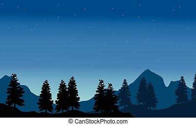 sylwetka, od, świerk, z, góra, tło, krajobraz