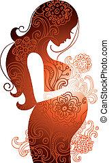 sylwetka, od, brzemienna kobieta