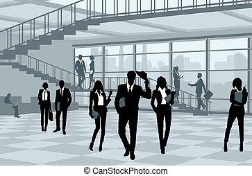 sylwetka, od, businesspeople, w, biuro