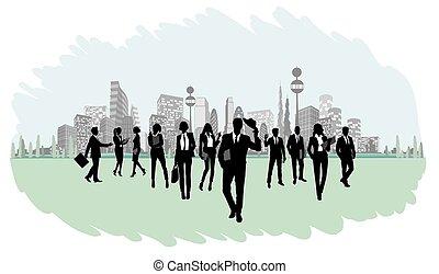 sylwetka, od, businesspeople