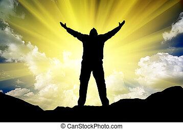 sylwetka, od, człowiek, i, światło słoneczne
