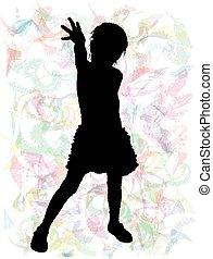 sylwetka, od, dzieci, -, abstrakcyjny, tło.