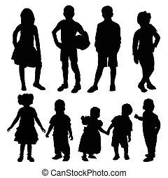 sylwetka, od, dzieci